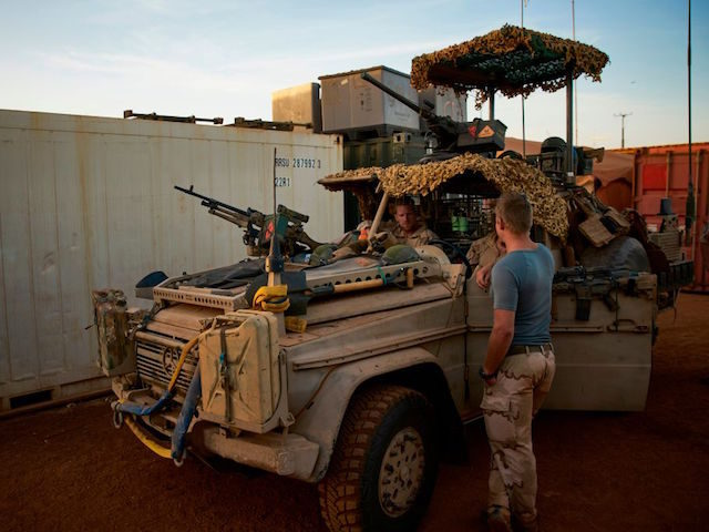 A picture taken on November 29, 2017 shows Dutch soldiers of the MINUSMA (United Nations Multidimensional Integrated Stabilization Mission in Mali) contingent at their base in Gao. / AFP PHOTO / MICHELE CATTANI (Photo credit should read MICHELE CATTANI/AFP/Getty Images)