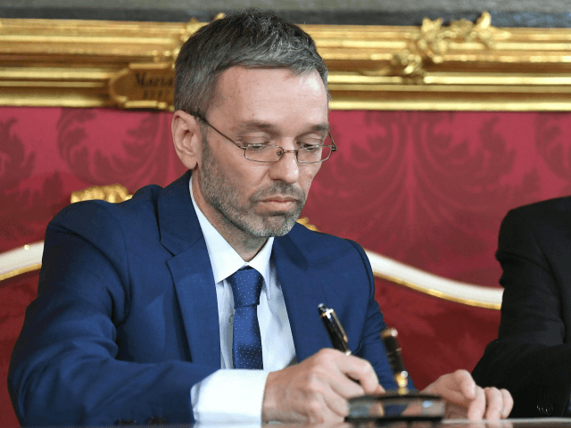 Austrian President Alexander Van der Bellen (R) and Austrian Interior Minister Herbert Kickl sign the letter of appointment during the inauguration ceremony of the new Austrian government at the Hofburg in Vienna, Austria, on December 18, 2017. Austria's far-right Freedom Party is set to round off a triumphant year for …