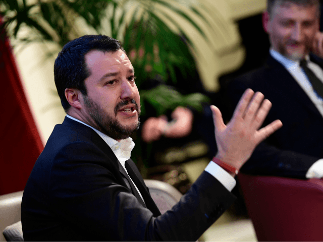 Italian leader of the Lega Nord political party and member of the European Parliament Matteo Salvini talks to the audience during a meeting called 'Salvini incontra la city' (Salvini meets the city) on January 22, 2018 in Milan. / AFP PHOTO / MIGUEL MEDINA (Photo credit should read MIGUEL MEDINA/AFP/Getty …