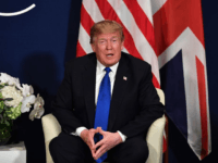 US President Donald Trump speaks during a bilateral meeting with Britain's Prime Minister on the sidelines of the World Economic Forum (WEF) annual meeting in Davos, eastern Switzerland, on January 25, 2018. / AFP PHOTO / Nicholas Kamm (Photo credit should read NICHOLAS KAMM/AFP/Getty Images)
