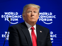 US President Donald Trump looks on during a discussion after delivering his speech during the World Economic Forum (WEF) annual meeting on January 26, 2018 in Davos, eastern Switzerland. / AFP PHOTO / Fabrice COFFRINI (Photo credit should read FABRICE COFFRINI/AFP/Getty Images)