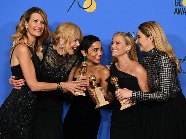"Laura Dern, from left, Nicole Kidman, Zoe Kravitz, Reese Witherspoon and Shailene Woodley pose in the press room with the award for best television limited series or motion picture made for television for ""Big Little Lies"" at the 75th annual Golden Globe Awards at the Beverly Hilton Hotel on Sunday, …"