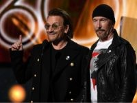 Bono and The Edge from U2 stand on stage during the 60th Annual Grammy Awards show on January 28, 2018, in New York. / AFP PHOTO / Timothy A. CLARY (Photo credit should read TIMOTHY A. CLARY/AFP/Getty Images)