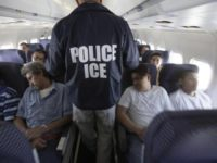 ICE officer with illegal immigrants on airplane.