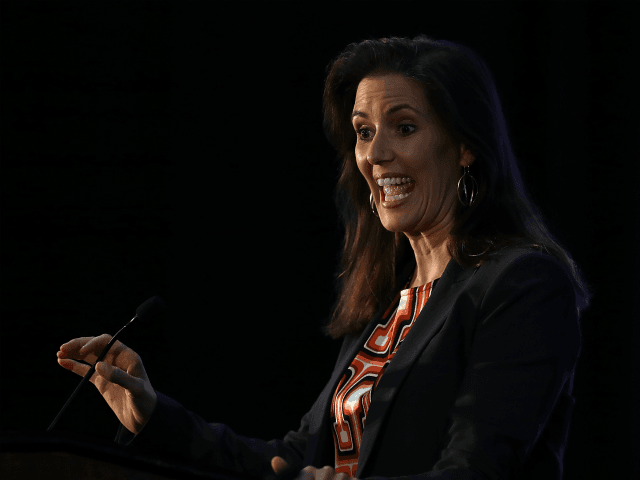 Oakland Mayor Libby Schaaf speaks during the 2016 Cannabis Business Summit & Expo on June 22, 2016 in Oakland, Schaaf delivered the closing address on the final day of the three-day long Cannabis Business Summit & Expo. (Photo by Justin Sullivan/Getty Images)