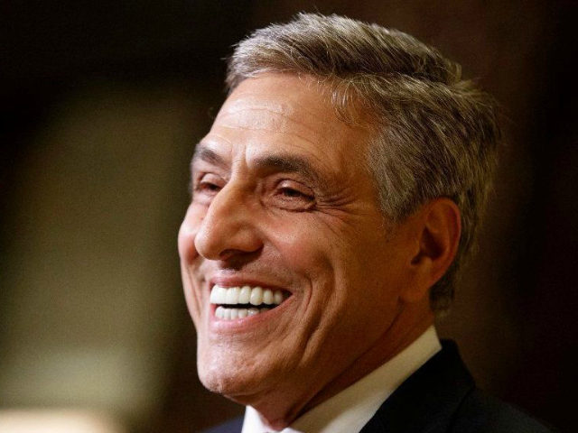 Rep. Lou Barletta, R-Pa., smiles as he talks with reporters after a meeting with President-elect Donald Trump at Trump Tower, Tuesday, Nov. 29, 2016, in New York. (AP Photo/Evan Vucci)