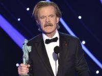 "William H. Macy accepts the award for outstanding performance by a male actor in a comedy series for ""Shameless"" at the 24th annual Screen Actors Guild Awards at the Shrine Auditorium & Expo Hall on Sunday, Jan. 21, 2018, in Los Angeles. (Photo by Vince Bucci/Invision/AP)"