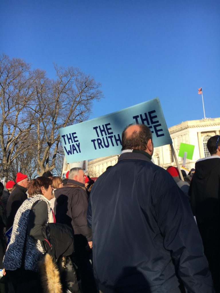 "March for Life on January 19, 2018. Marchers carry a sign that reads, ""The way, the truth, and the life."""