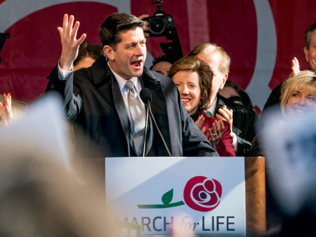 House Speaker Paul Ryan of Wis., speaks at an anti-abortion rally on the National Mall in Washington, Friday, Jan. 19, 2018, during the annual March for Life. Thousands of anti-abortion demonstrators gather in Washington for an annual march to protest the Supreme Court's landmark 1973 decision that declared a constitutional …