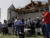 Vice President Mike Pence and Texas Governor Greg Abbott visit damaged church in Rockport, Texas.