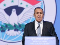 SOCHI, RUSSIA JANUARY 30, 2018: Russia's Foreign Minister Sergei Lavrov makes a speech at the Syrian National Dialogue Congress opening ceremony at the Main Media Centre of the Olympic Park. Valery Sharifulin/TASS Host Photo Agency (Photo by Valery Sharifulin\TASS via Getty Images)