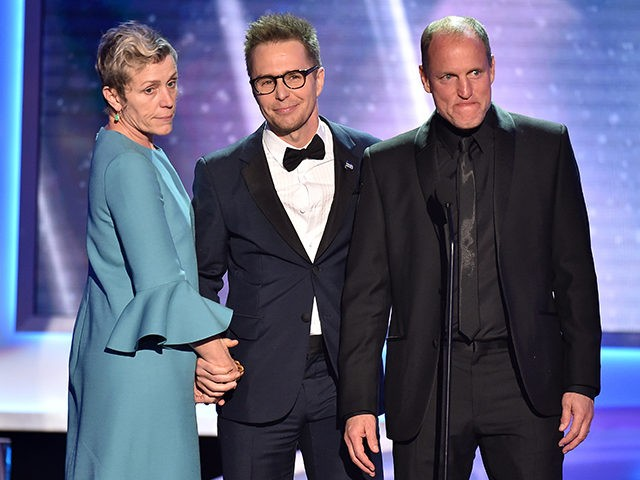 "Frances McDormand, from left, Sam Rockwell and Woody Harrelson, nominees for outstanding performance by a cast in a motion picture for ""Three Billboards Outside Ebbing, Missouri,"" introduce a clip from their film at the 24th annual Screen Actors Guild Awards at the Shrine Auditorium & Expo Hall on Sunday, Jan. …"