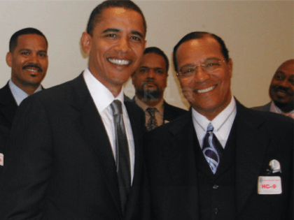 Barack Obama and Louis Farrakhan (Askia Muhammad via TriceEdnyWire.com)