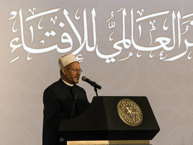 Shawki Ibrahim Abdel-Karim Allam, the Grand Mufti of Egypt, speaks during the opening session of the Fatwa international conference, attended by Arab Islamic clerics, in Cairo on August 17, 2015. AFP PHOTO / KHALED DESOUKI (Photo credit should read KHALED DESOUKI/AFP/Getty Images)