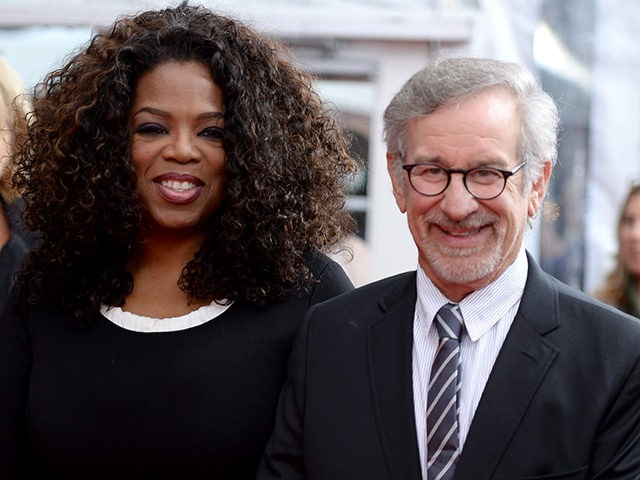 NEW YORK NY- AUGUST 04 Producer Oprah Winfrey and director Steven Spielberg attend the 'The Hundred Foot Journey&#039 New York premiere at Ziegfeld Theater