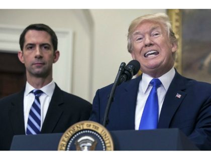 Tom Cotton Beside Trump