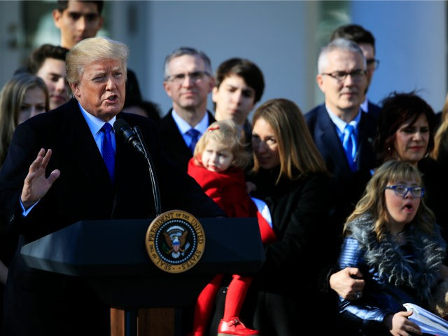 President Donald Trump speaks to anti-abortion supporters and participants of the annual March for Life event, in the Rose Garden of the White House in Washington, Friday, Jan. 19, 2018. (AP Photo/Manuel Balce Ceneta)