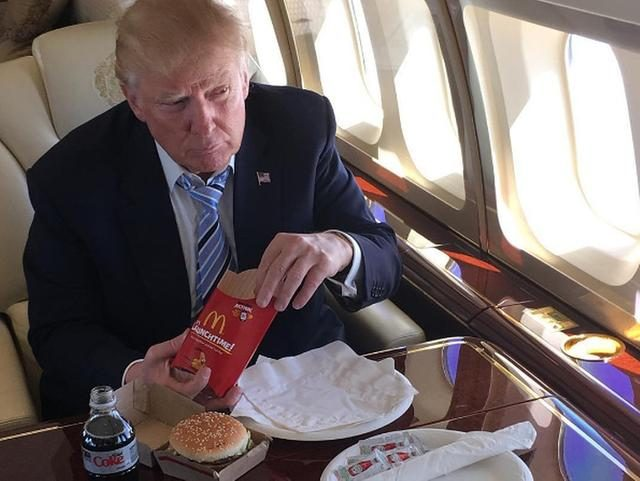 President Donald Trump eating McDonald's (Instagram)