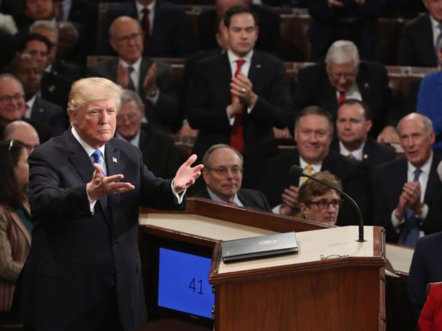 Trump gestures at State of the Union (Mark Wilson / Getty)