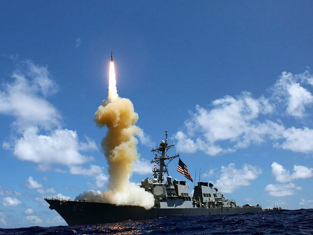 Guided-missile destroyer USS Fitzgerald (DDG 62) fires a Standard Missile-3 (SM-3) during a joint ballistic missile defense exercise, Pacific Ocean, 2012. Image courtesy US Navy. (Photo via Smith Collection/Gado/Getty Images).