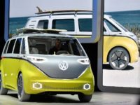 An I.D. Buzz is presented on the Volkswagen stand on the first media day of the International Frankfurt Motor Show IAA in Frankfurt, Germany, Tuesday, Sept. 12, 2017, which runs through Sept. 24, 2017. (AP Photo/Martin Meissner)