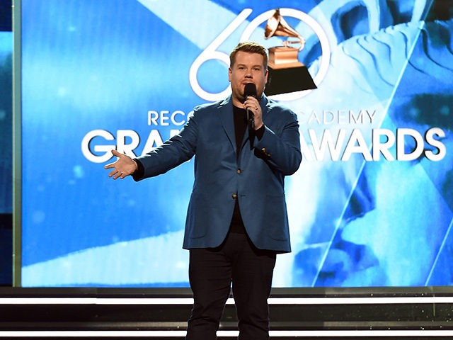 NEW YORK, NY - JANUARY 25: Host James Corden rehearses onstage for the 60th Annual GRAMMY Awards at Madison Square Garden on January 25, 2018 in New York City. (Photo by Kevin Winter/Getty Images for NARAS)
