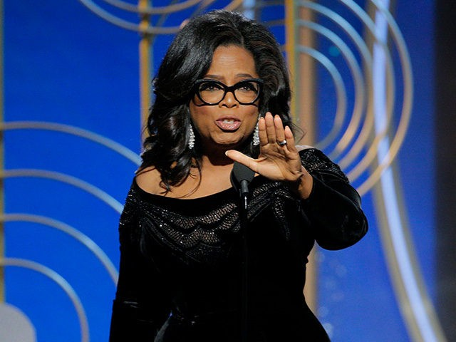 BEVERLY HILLS, CA - JANUARY 07: In this handout photo provided by NBCUniversal, Oprah Winfrey accepts the 2018 Cecil B. DeMille Award speaks onstage during the 75th Annual Golden Globe Awards at The Beverly Hilton Hotel on January 7, 2018 in Beverly Hills, California. (Photo by Paul Drinkwater/NBCUniversal via Getty …
