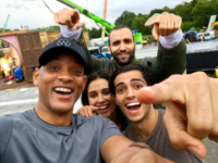 We just started shooting Aladdin and I wanted to intro you guys to our new family… Mena Massoud/Aladdin, Naomi Scott/Princess Jasmine, Marwan Kenzari/Jafar, and I'm over here gettin my Genie on. Here we go! — with Naomi Scott and Mena Massoud.