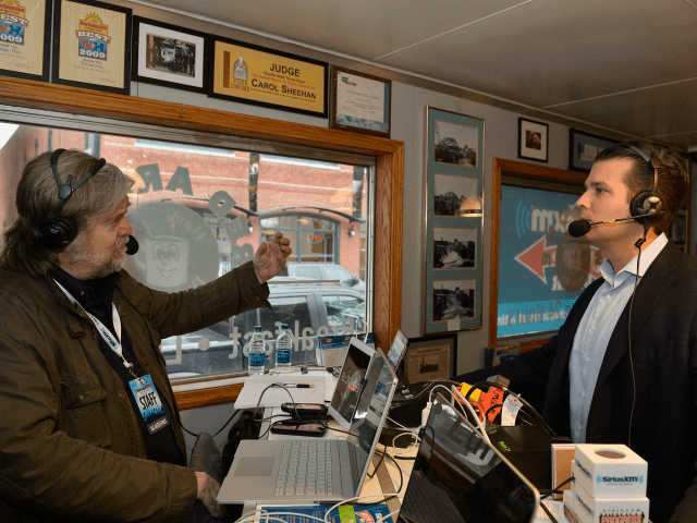 MANCHESTER, NH - FEBRUARY 08: Breitbart News Daily Stephen K. Bannon interviews Donald Trump, Jr. for SiriusXM Broadcasts' New Hampshire Primary Coverage Live From Iconic Red Arrow Diner on February 8, 2016 in Manchester, New Hampshire. (Photo by Paul Marotta/Getty Images for SiriusXM)