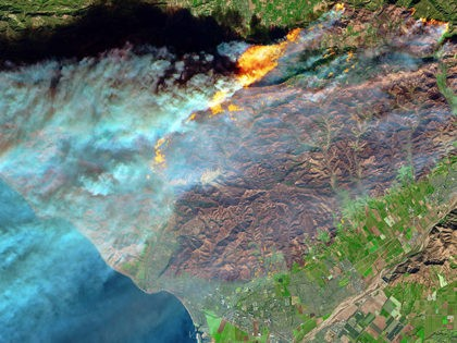 FILE - This Thursday, Dec. 7, 2017 false-color image from the European Space Agency's Sentinel-2 satellite via NASA, shows a brown burn scar from the Thomas fire north of the city of Ventura, Calif., at bottom center. The flames stand out starkly as smoke billows toward the Pacific Ocean and …