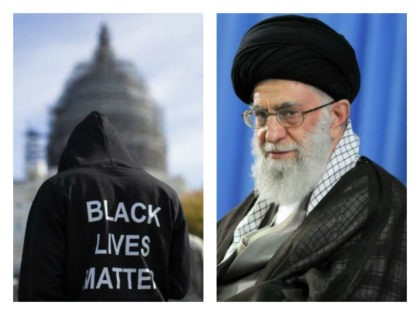 Collage of Iran's Supreme Leader Ayatollah Ali Khamenei and Black Lives Matter sweatshirt.