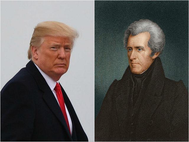 Donald Trump and portrait of Andrew Jackson