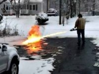 flamethrower melting snow
