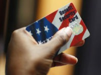 NEW YORK - FEBRUARY 10: Kethia Dorelus a social worker with the Cooperative Feeding Program displays a Federal food stamps card that is used to purchase food on February 10, 2011 in Fort Lauderdale, Florida. Recent statistics show that nationwide, one in seven Americans receives help from the Federal government …