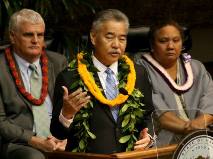 Hawaii Gov. David Ige delivers his annual State of the State address in Honolulu on Monday, Jan. 22, 2018. Ige voiced his opposition to Trump administration policies but didn't mention a missile alert mistakenly sent to residents and visitors statewide a week ago. (AP Photo/Jennifer Sinco Kelleher)