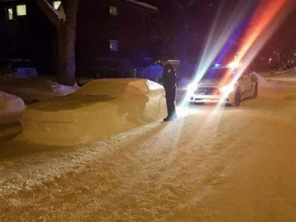 "A Canadian man in the mood to play a trick on some snow removers made a ""car"" entirely out of snow fooled police officers instead."