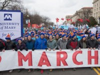 Pro-life demonstrators march towards the US Supreme Court during the 44th annual March for Life in Washington, DC, on January 27, 2017. Anti-abortion advocates descended on the US capital on Friday for an annual march expected to draw the largest crowd in years, with the White House spotlighting the cause …