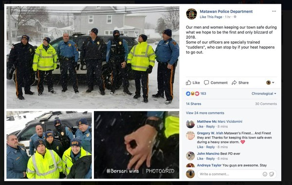 This Facebook post published Thursday by the Matawan Police Department was removed after the chief of police said a joking gesture was wildly misinterpreted. (Via Facebook)