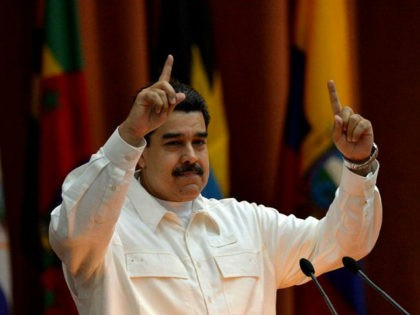 Venezuelan President Nicolas Maduro speaks at the closing ceremony of the XVI Political Council of the Bolivarian Alliance for the People of Our Americas (ALBA) at the Convention Palace in Havana, on December 14, 2017. / AFP PHOTO / YAMIL LAGE (Photo credit should read YAMIL LAGE/AFP/Getty Images)