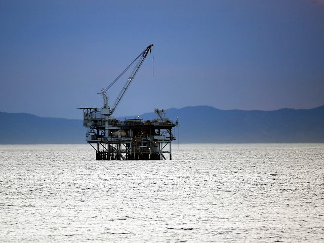 The oil drilling platform Holly, approximately two miles off the shore of Huntington Beach, California. Catalina Island can be seen in the background
