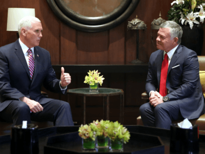 US Vice President Mike Pence (L) meets with Jordan's King Abdullah II in the capital Amman, on January 21, 2018. / AFP PHOTO / Khalil MAZRAAWI (Photo credit should read KHALIL MAZRAAWI/AFP/Getty Images)