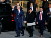 US Vice President Mike Pence waves after stepping off a plane with his wife Karen Pence upon their arrival at Ben Gurion Airport near the Israeli city of Tel Aviv on January 21, 2018 on the second day of his delayed Middle East tour after visiting Egypt and Jordan. / …