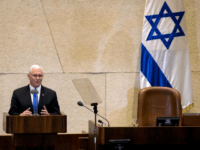 US Vice President Mike Pence addresses the Knesset (Israeli parliament) in Jerusalem on January 22, 2018. The visit, initially scheduled for December before being postponed, is the final leg of a trip that has included talks in Egypt and Jordan as well as a stop at a US military facility …