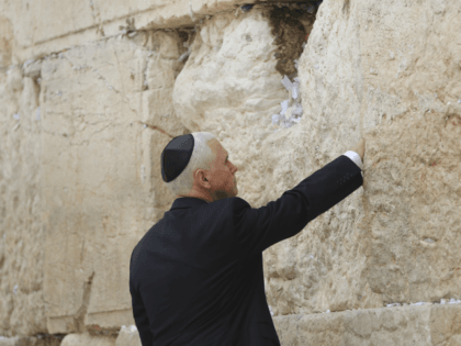 U.S. Vice President Mike Pence visits the Western Wall in Jerusalem's Old City Tuesday, Jan. 23, 2018. (AP Photo/Oded Balilty)