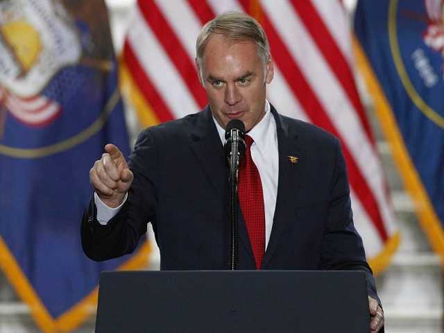 SALT LAKE CITY, UT - DECEMBER 4: Interior Secretary Ryan Zinke gives a speech before U.S. President Donald Trump arrives at the Rotunda of the Utah State Capitol on December 4, 2017 in Salt Lake City, Utah. Trump announced the reduction in size of the Bears Ears and Grand Staircase-Escalante …