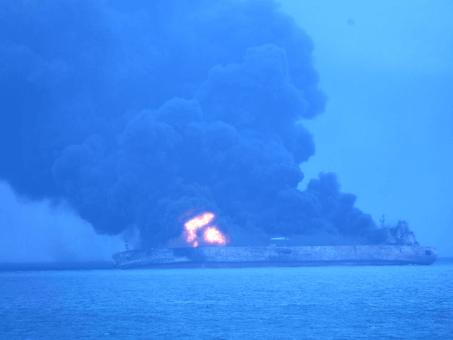 "In this photo provided by Korea Coast Guard, the Panama-registered tanker ""Sanchi"" is seen ablaze after a collision with a Hong Kong-registered freighter off China's eastern coast Sunday, Jan. 7, 2018. The oil tanker collided with a bulk freighter and caught fire off China's eastern coast, leaving its entire crew …"