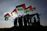 Palestinian protesters wave their national flag near the Israel-Gaza border east of the southern Gaza Strip city of Khan Yunis as they demonstrate efforts to close UNRWA and possible US cuts Palestinian aid