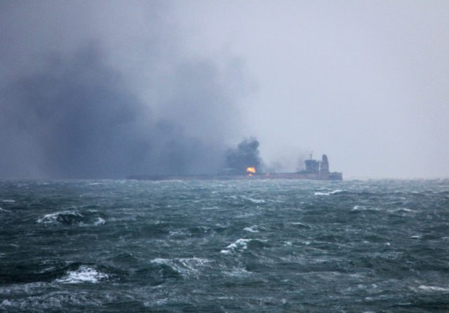 The Iranian oil tanker was on its way to South Korea when it collided with the CF Crystal