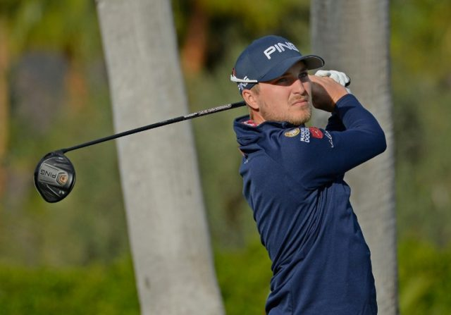 Austin Cook plays his shot from the first tee during the third round of the CareerBuilder Challenge at La Quinta Country Club on January 20, 2018 in La Quinta, California