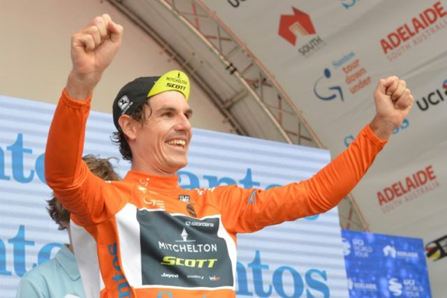Daryl Impey of South Africa celebrates being the race leader after stage 5 on the fifth day of the Tour Down Under cycling race in Adelaide